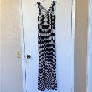 Black & White long striped maxi dress
